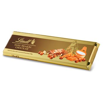 Lindt Gold Milk Chocolate With Caramel And Whole Hazelnuts 300g